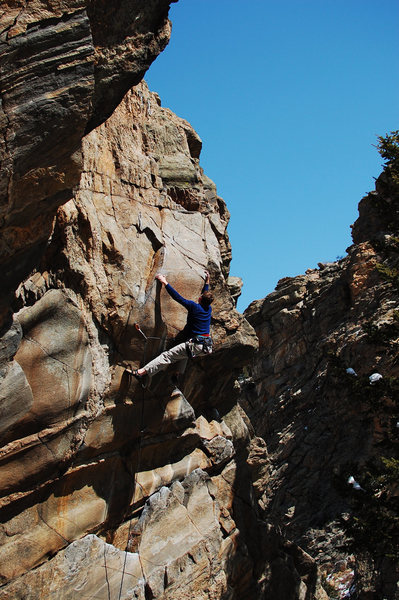 James finishing the upper crux.