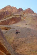Rock Climbing Photo: Monica leading the 10a splitter pitch of Cloud Tow...