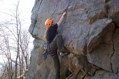Rock Climbing Photo: Kimberly finding the crux ;)