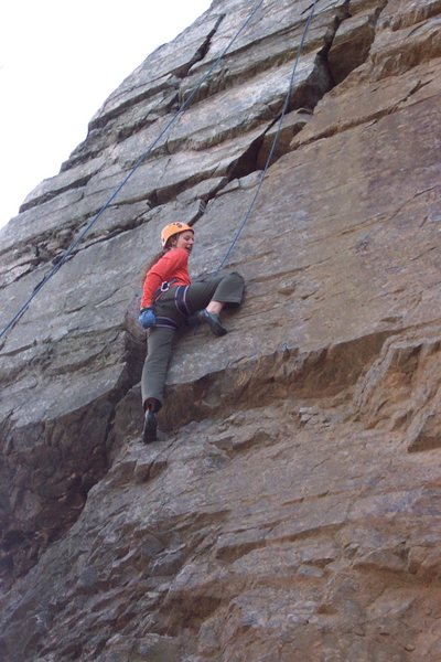 Rock Climbing Photo: Kimberly just below the 2 crux moves. She flashed ...