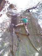 Rock Climbing Photo: Rhoads on lead.