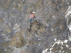 Rock Climbing Photo: Kyle Stich on lead, clipped the first bolt of Spli...