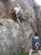 Rock Climbing Photo: The crux; rest of the route is pleasantly sustaine...