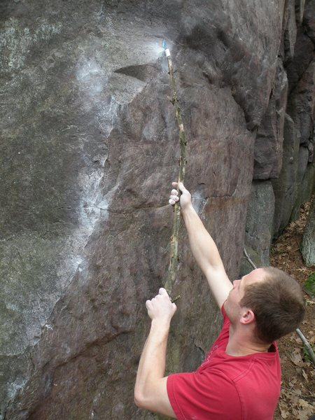 Rock Climbing Photo: Getting creative with some cleaning.