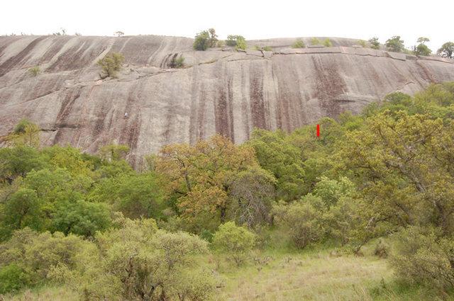 Rock Climbing Photo: Stranger starts near red mark on right. Small ramp...