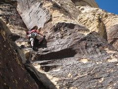Rock Climbing Photo: Clint on the 3rd pitch of Purblind Pillar.