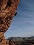 Rock Climbing Photo: Eric at the anchors of California 5.12