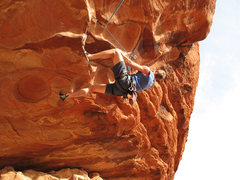 Rock Climbing Photo: me working through the fun series of heel-hooks in...
