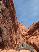 Rock Climbing Photo: Ali about half-way up Haunted Hooks