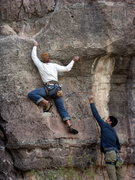 Rock Climbing Photo: There is something interesting about being 4' off ...