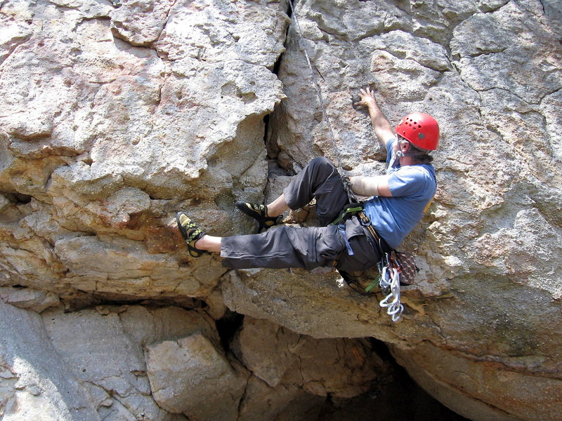 Rock Climbing Photo: Heel-hooking and clawing for the next hold on Moe....