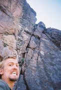 Rock Climbing Photo: A little moisture at the crux.