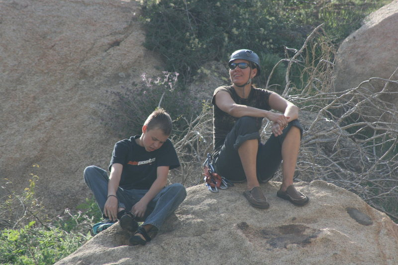 Me & T.P. bouldering after a day of climbing @ Big Rock