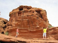Rock Climbing Photo: My kids in front of the problem.