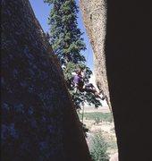 """Rappelling the """"Harder Boulder""""  Vedauwoo, June, 2000."""