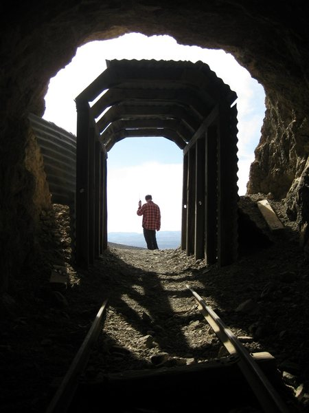 In the infamous Burro Schmidt's tunnel while Jonny's making a radio contact on his mobile HAM radio. As usual, we had the place all to ourselves. What an awesome tunnel!<br> <br> Mid March, 2010.