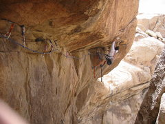 Rock Climbing Photo: Frazier Haney on the first ascent at the roof on J...
