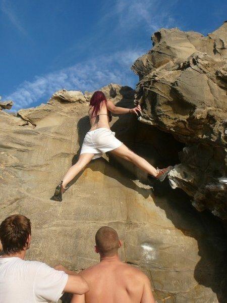 Climbing The Burrito (v1) at Pirate's Cove in Corona Del Mar
