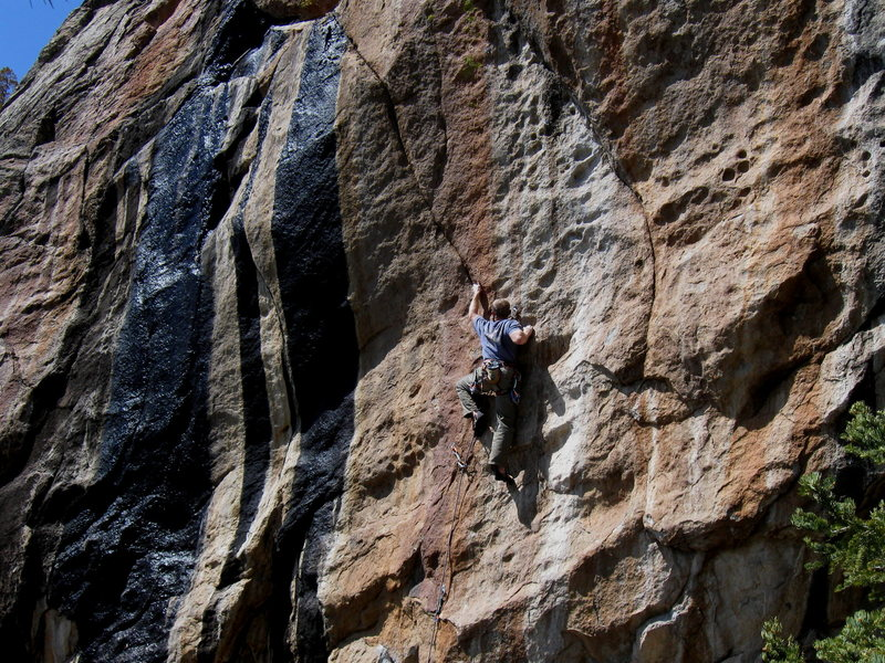 Keith at the crux on Continental Drift .12d.  The 2nd ascent will have to wait till another day...