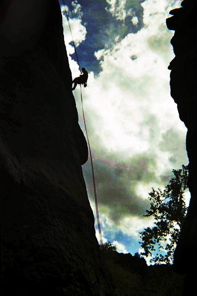 Rock Climbing Photo: Rappelling off Giggling Marlin, Queen Creek