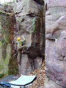 Rock Climbing Photo: Coiling up for the throw, big move!  Great problem...