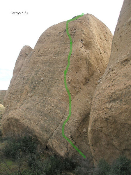 Tethys 5.8+, 2 pitches, fully bolted. The crux is the steep bit just before half way up. The rest is 5.6 or less. Fun route.