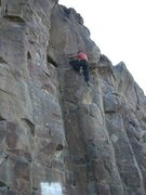 Rock Climbing Photo: Ryan Flynn working a route at the Black Cliffs