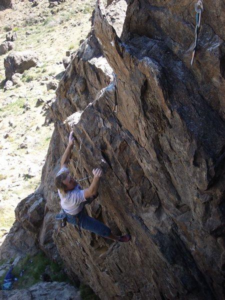Rock Climbing Photo: Halfway up the 17 bolt, Drunken Miget Wrestling.