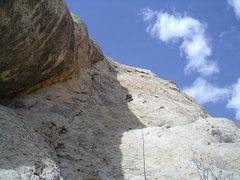 Rock Climbing Photo: Paul on the 4th pitch . Photo Pat Moe