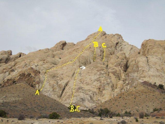 Rock Climbing Photo: A)Aguille du Gieant.1600'5.5R.B)Dugana 800'5.8R.C)...