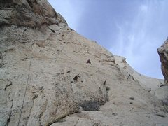 Rock Climbing Photo: Paul on the 200' 5.10R pitch.From here the climbin...