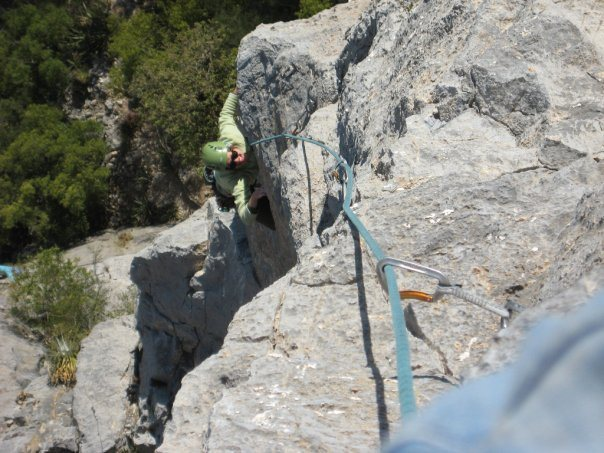 one of the most exposed 5.10 sport routes around...miss G crushing