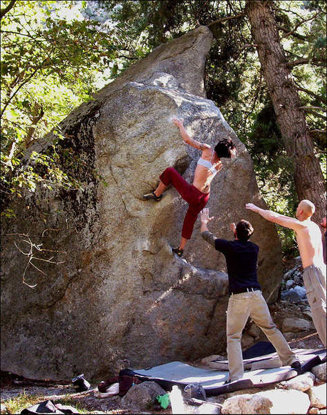 Rock Climbing Photo: four feet off the deck and running out of gear...