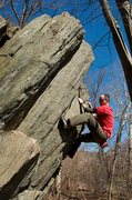 Rock Climbing Photo: Trying some stuff on the Billy Goat Boulder (or wh...