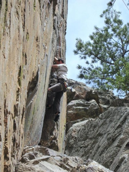 Rock Climbing Photo: Matt working his way up Supremacy Crack.  Ouch!