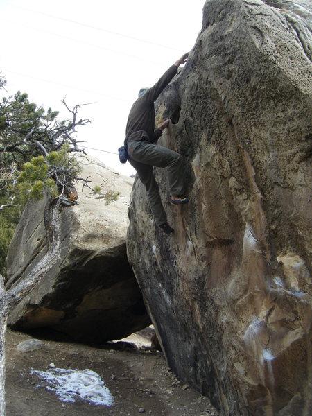 Rock Climbing Photo: JA topping out Dem' Bones.