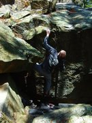 Rock Climbing Photo: Stuck.  A few holds clearly have broken off but th...