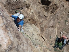 Rock Climbing Photo: Moving into the crux.