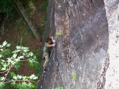 Rock Climbing Photo: John making the third clip