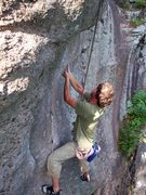 Rock Climbing Photo: Serious body tension is required to pull this crux...