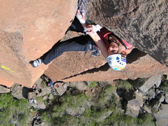 Rock Climbing Photo: Lenka pulling Wondertwins' roof. Photo by Max Tepf...