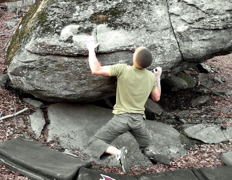 """Aaron Parlier on """"Down Tempo"""" (V-5/6).Boneyard, Upper LBS, GHSP, Va."""