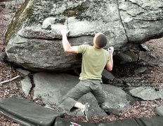 "Rock Climbing Photo: Aaron Parlier on ""Down Tempo"" (V-5/6).Bo..."