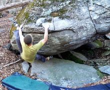 """Rock Climbing Photo: Aaron Parlier with the start on """"Down Tempo&q..."""