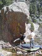 Rock Climbing Photo: Trying to put away Resonated before the water rise...