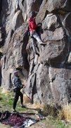 Rock Climbing Photo: Reaching for Gold