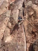 Rock Climbing Photo: Spence leading Kalahari Sidewinder.