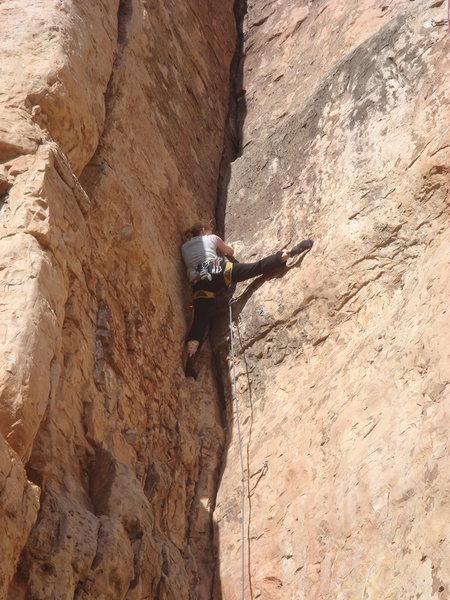 Rock Climbing Photo: Tracy workin' the big dihedral of Half Breed.