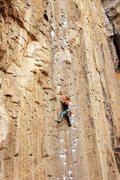 Rock Climbing Photo: Leading Pick Pocket (Owen's River Gorge)