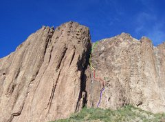 Rock Climbing Photo: Approximate route P1-P4.  P5 straight up and obvio...